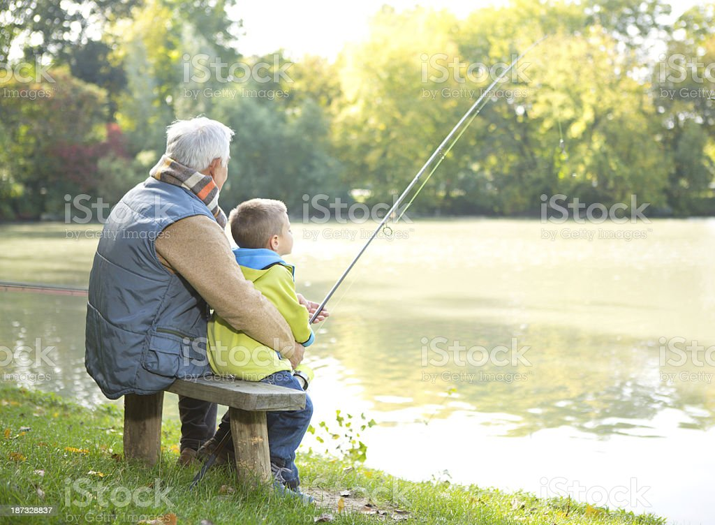 Fishing together. royalty-free stock photo