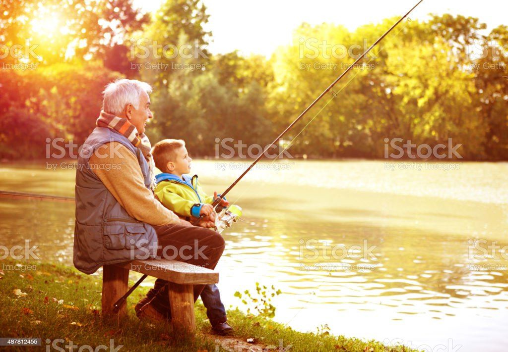 Fishing together. stock photo