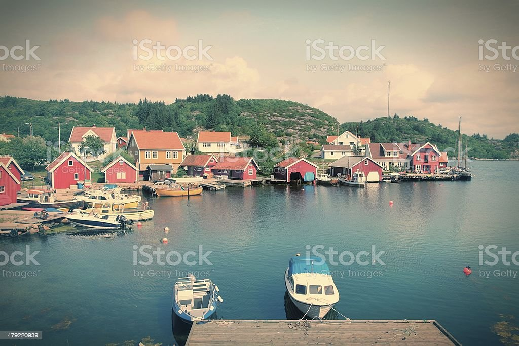 Fishing town in Norway stock photo