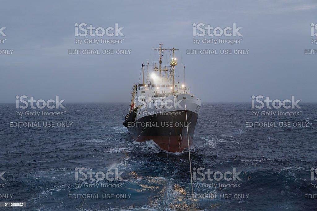 Fishing trawler AN XING HAI stock photo