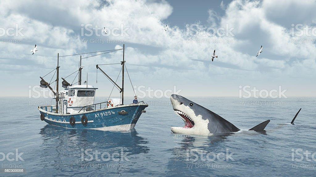 Fishing trawler and great white shark stock photo