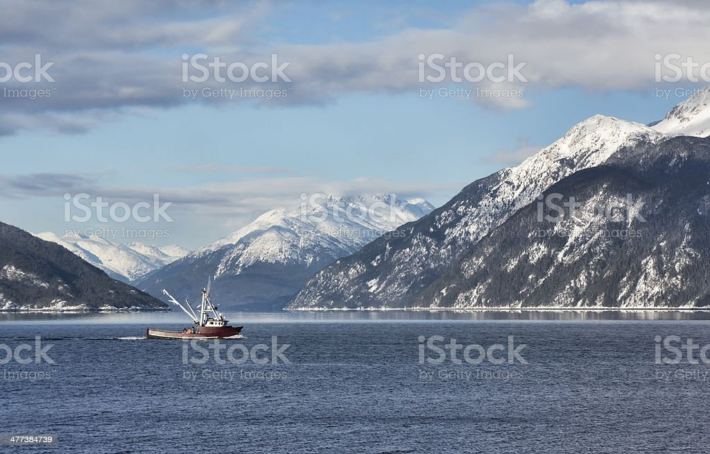 Fishing trawler in Portage Cove stock photo