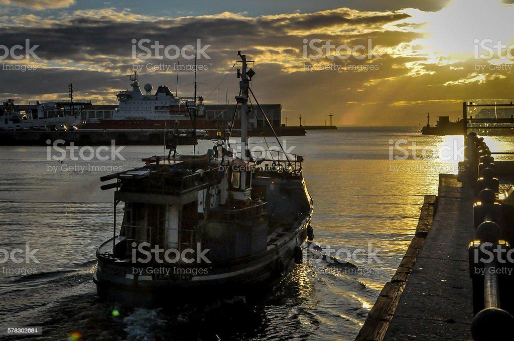 Fishing trawler stock photo