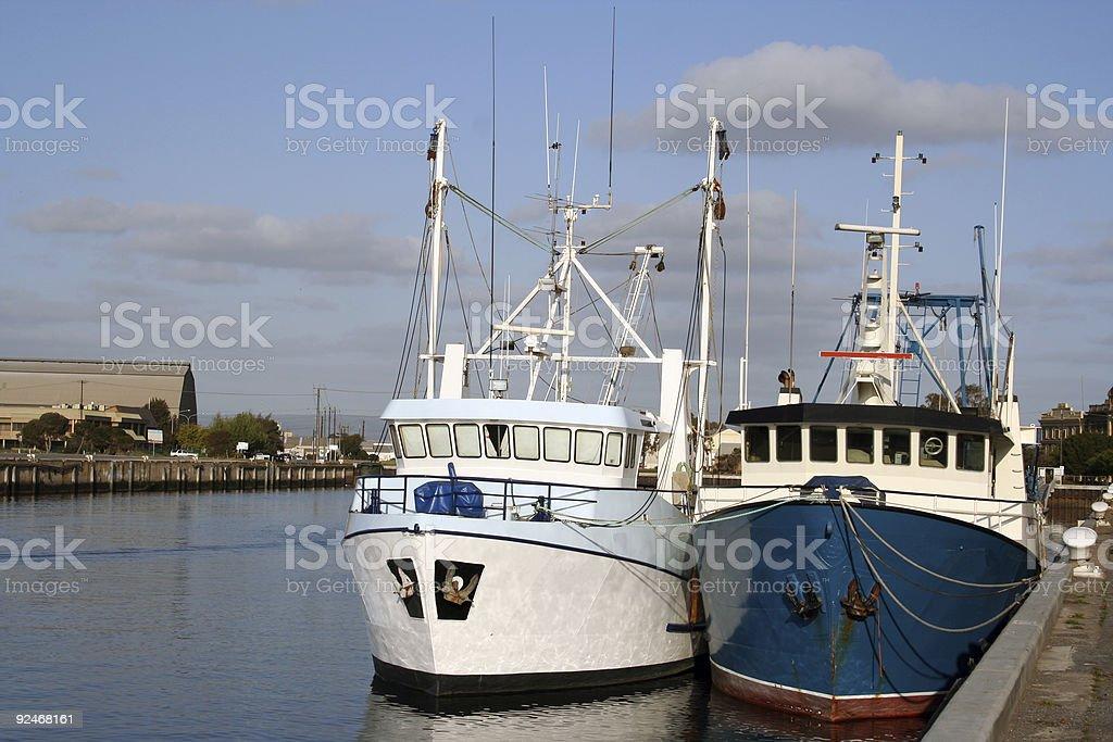 Fishing trawlers stock photo