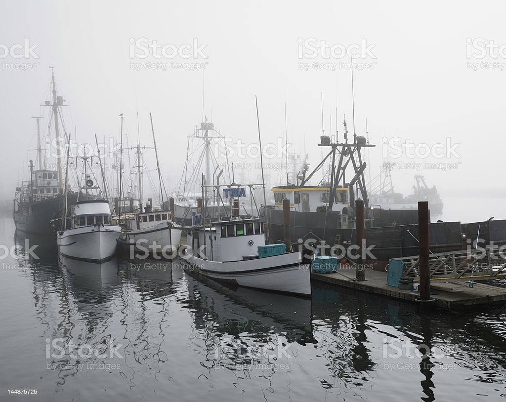 Fishing vessels in the foggy Marina, Newport,  Oregon royalty-free stock photo