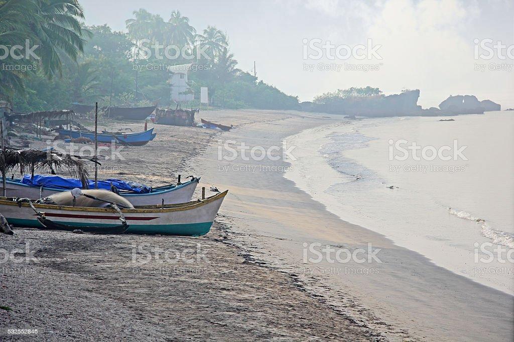 Fishing Village Beach of India stock photo