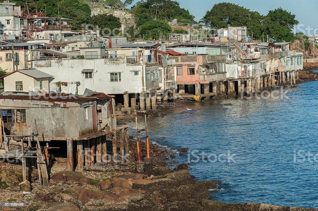 Fishing village in Hong Kong stock photo