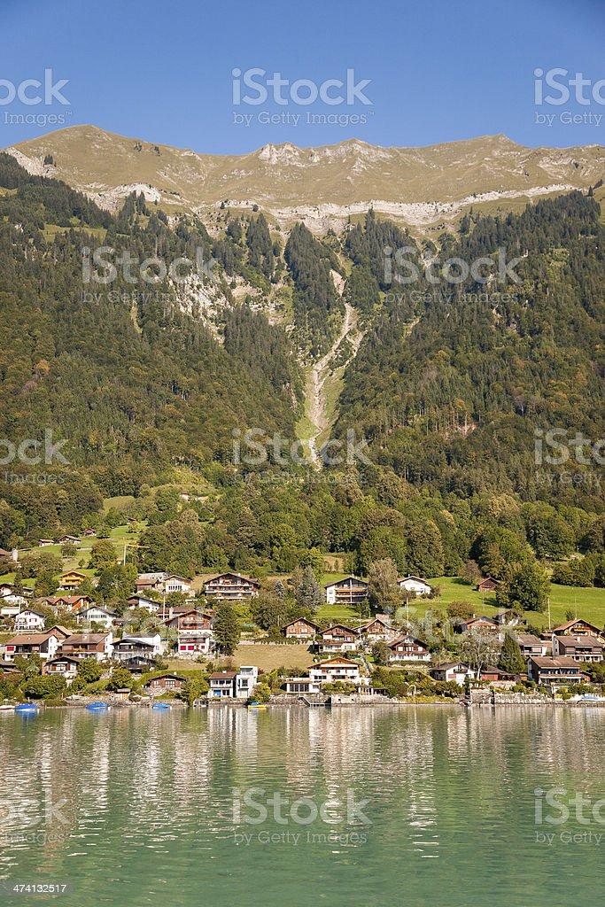 Fishing village in Lake Brienz, Switzerland royalty-free stock photo
