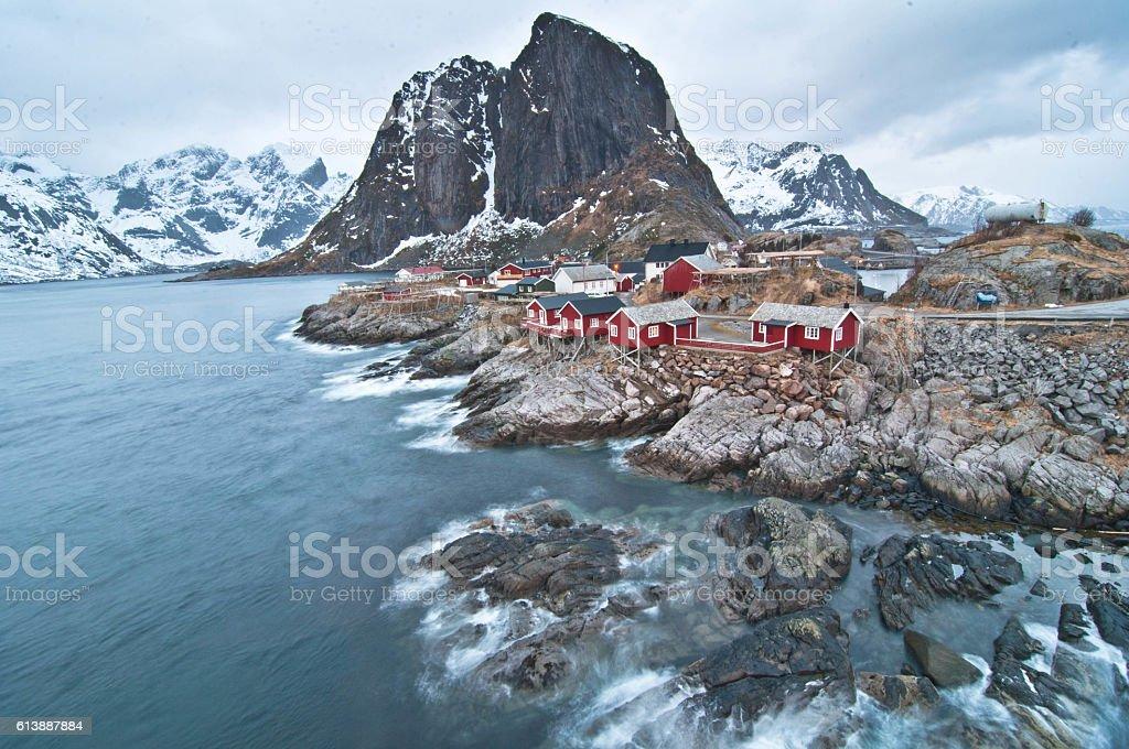 Fishing village in Lofoten, Norway stock photo