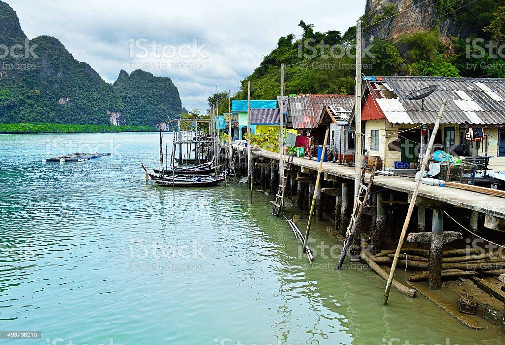 Fishing Village in Phuket, Thailand stock photo