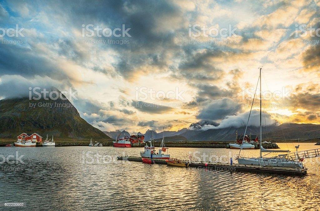 Fishing Village, Lofoten, Norway stock photo