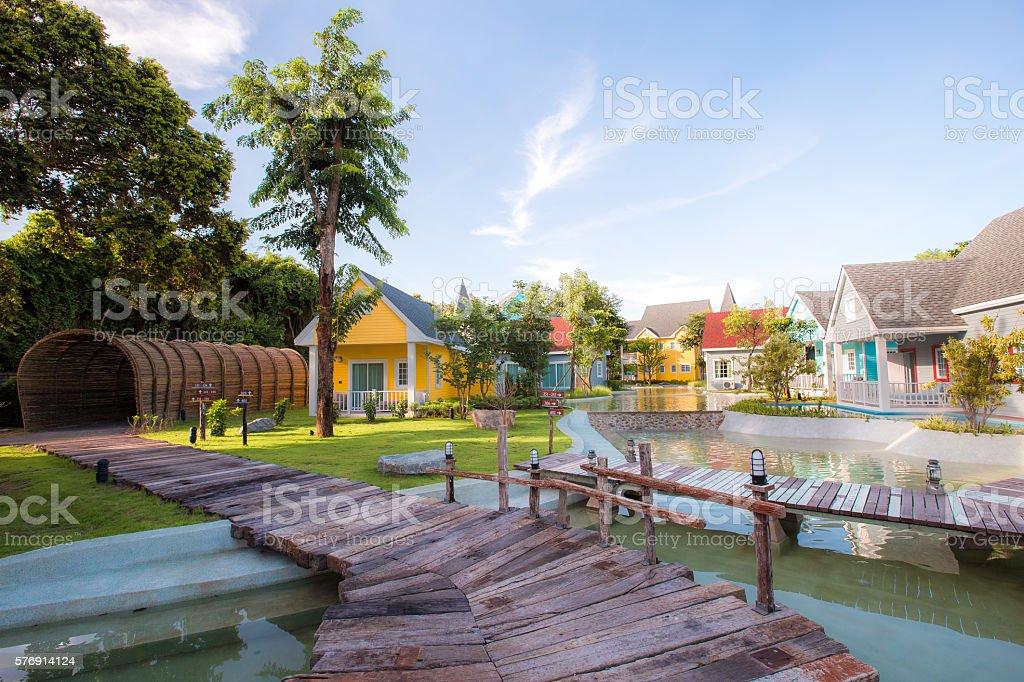 Fishing village Model Town at Chanthaburi stock photo