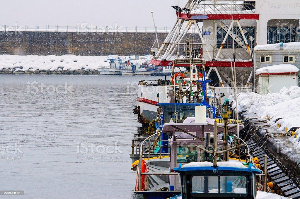 Wioska rybacka Zima zbiór zdjęć royalty-free