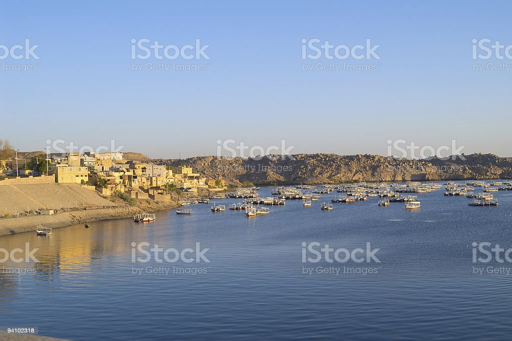 Fishing village on Lake Nasser Aswan Egypt stock photo