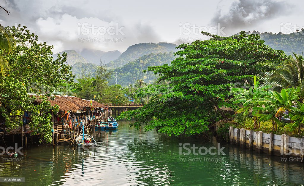 Fishing village on the island in Southeast Asia. stock photo