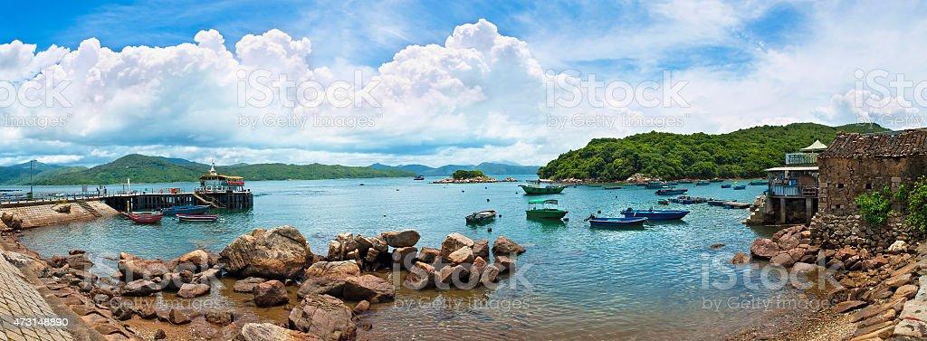 fishing village panorama on sunny day stock photo