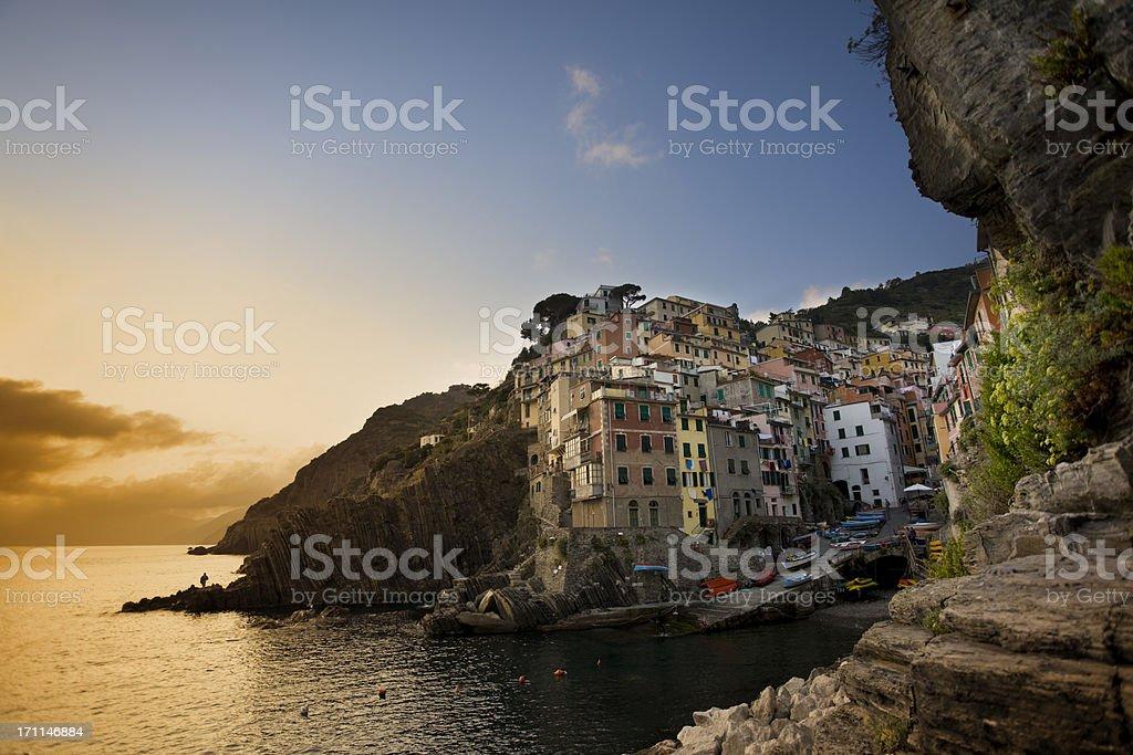 Fishing village Riomaggiore Cinque Terre Italy royalty-free stock photo