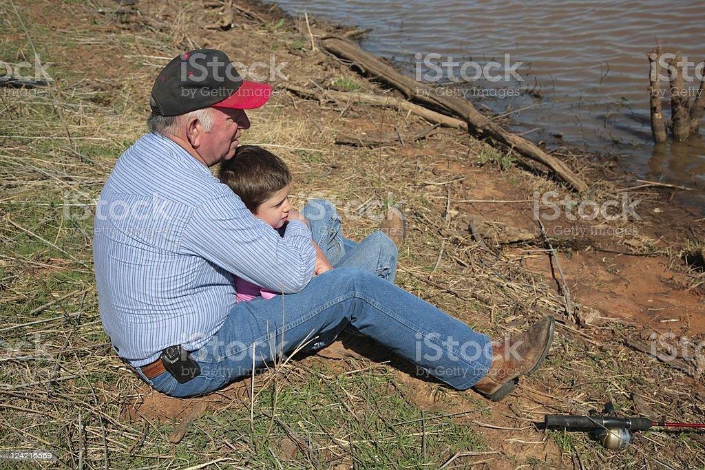 Fishing with Grandpa C stock photo