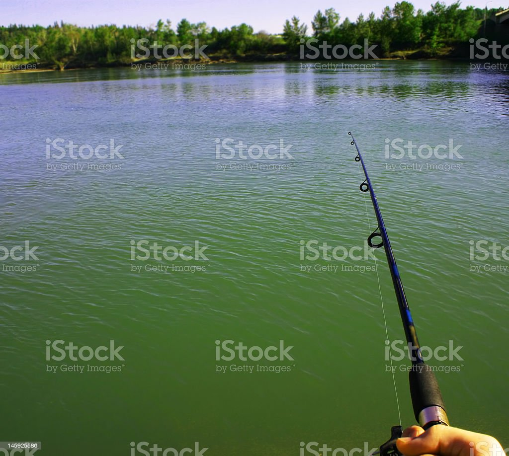 Fishing with patience stock photo