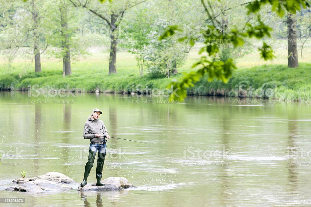 fishing woman royalty-free stock photo