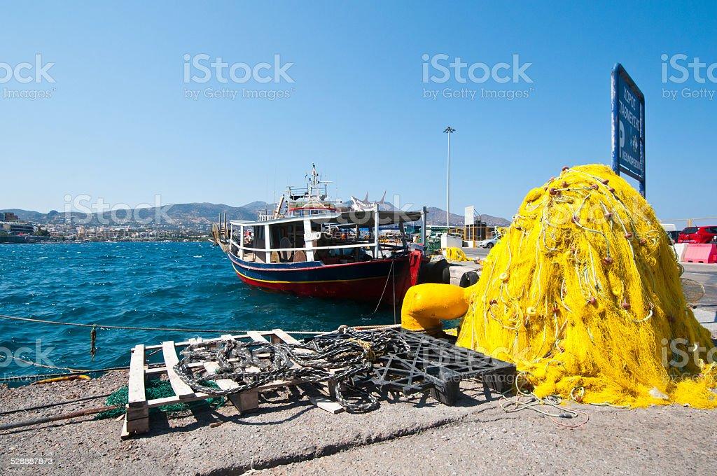 Fishing yacht at thr port of Creta stock photo