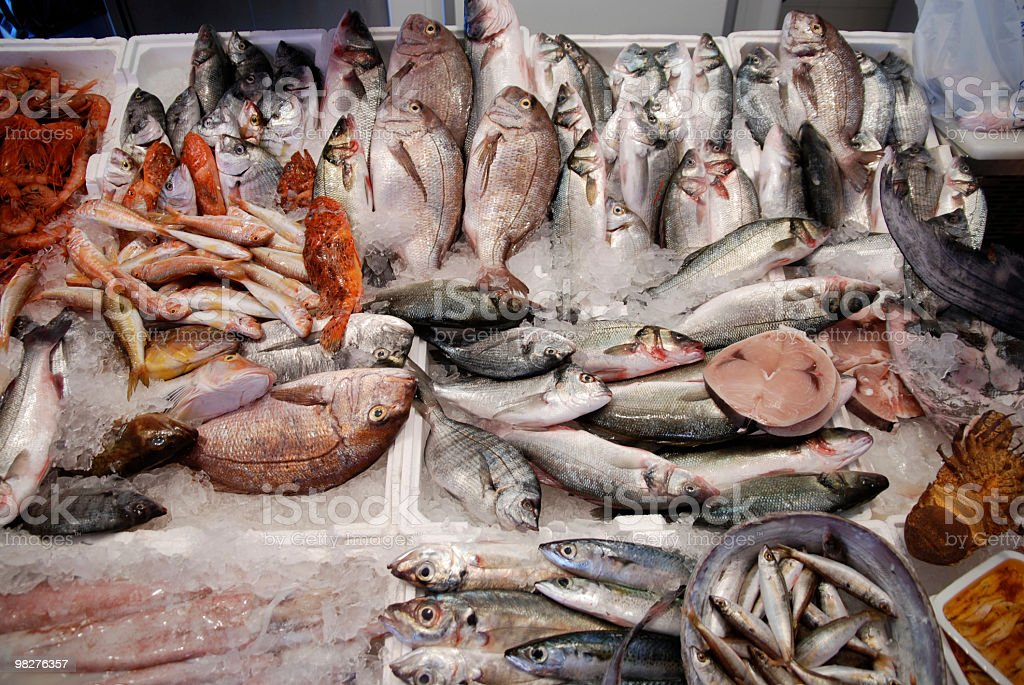 fishmarket with many different fresh fishes royalty-free stock photo