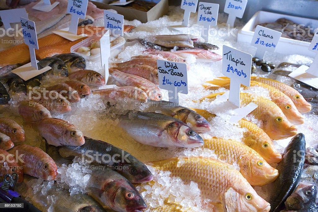 Fishmongers display royalty-free stock photo