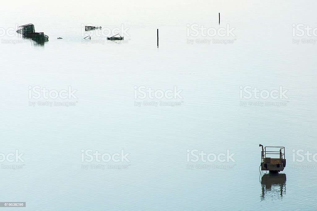 Fishnet with signaling in sea stock photo