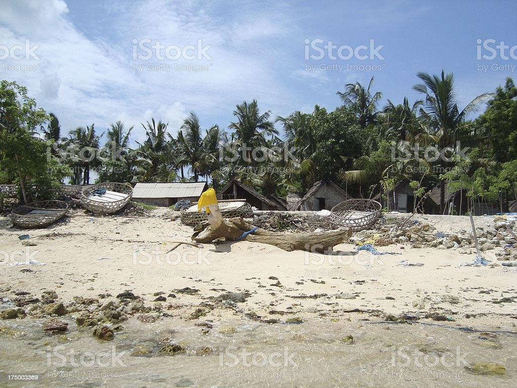 fishnets on the beach, Nusa Lembongan - Indonesia royalty-free stock photo