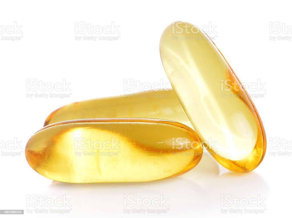 fishoil pill isolated on white stock photo