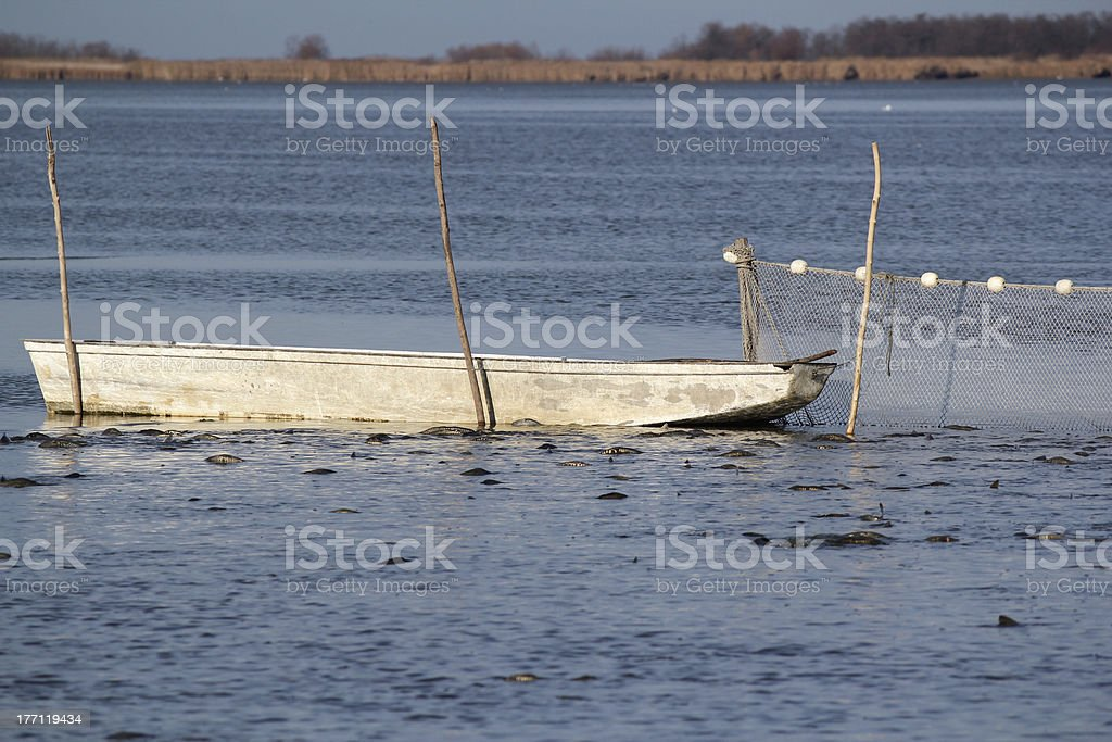 fishpond with boat and driftnet stock photo
