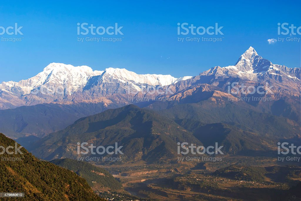 Fishtail and Dhaulagiri mountains stock photo