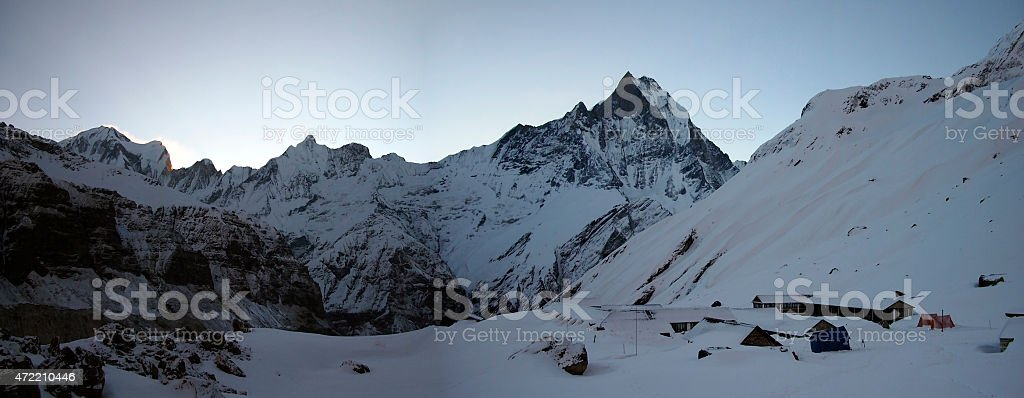 Fishtail massif view from Anapurna base camp stock photo