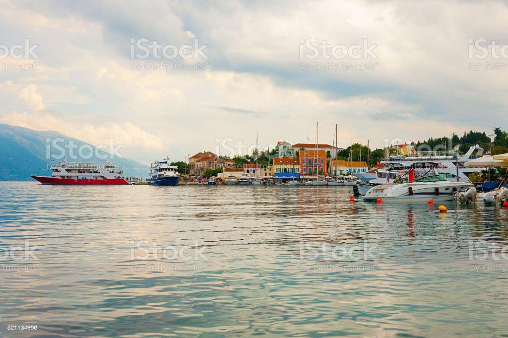 Fiskardo harbor stock photo