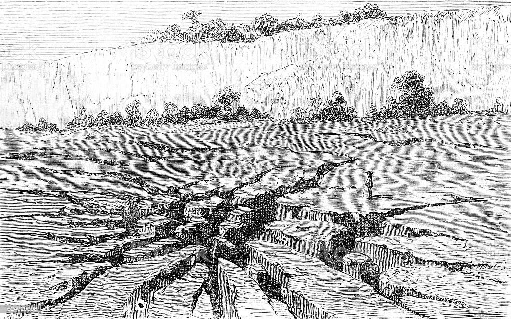 Fissures near Jerocarne in Calabria vector art illustration