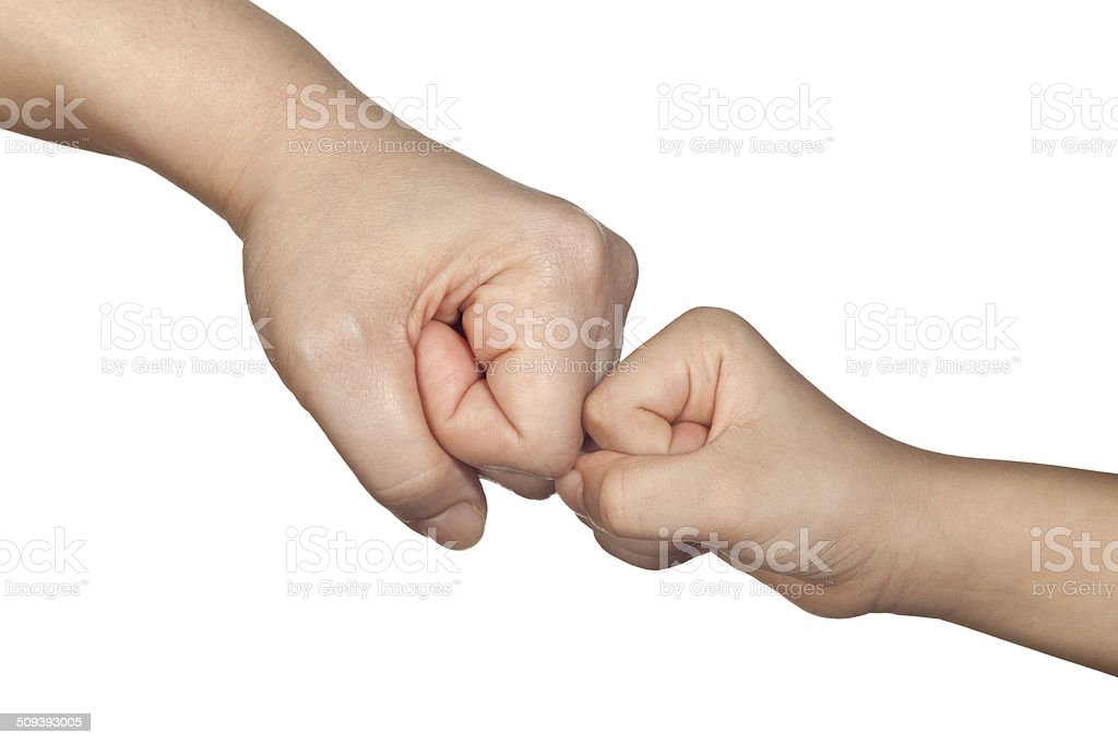 Fist bump with a kid stock photo