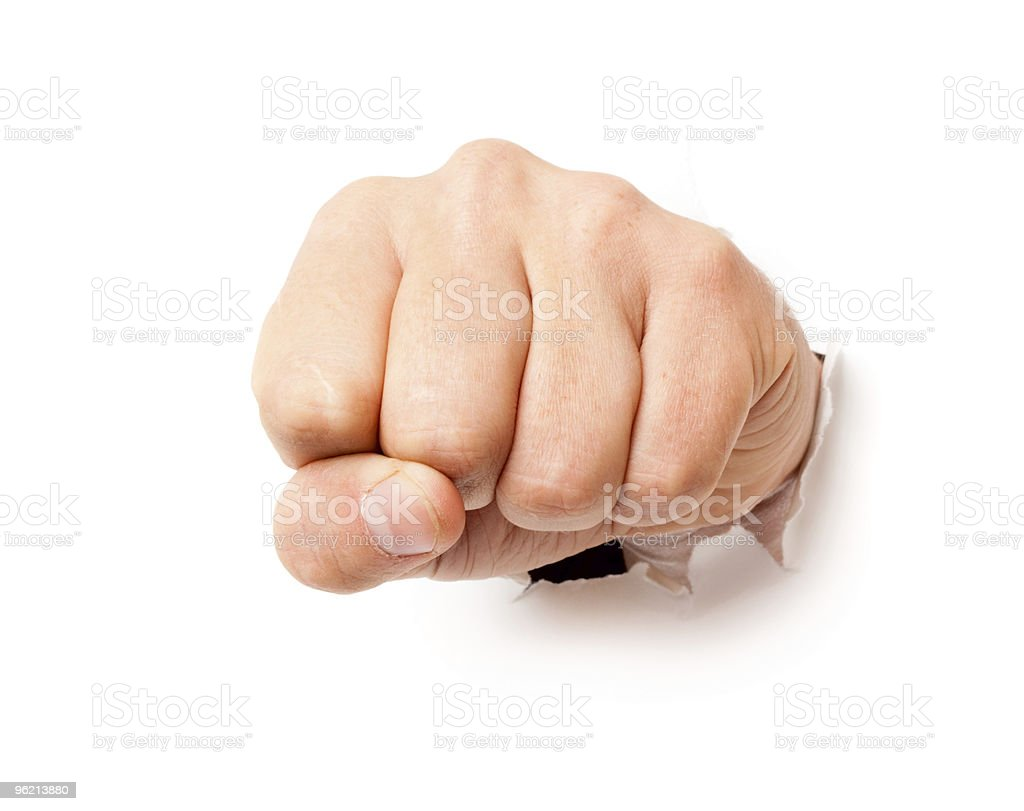 Fist from paper royalty-free stock photo