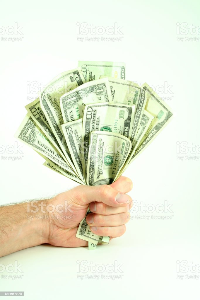 Fist Full o' Cash - Easy to Clip royalty-free stock photo