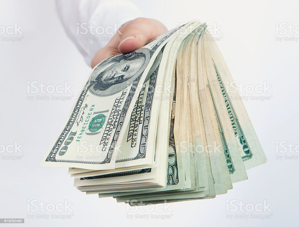 fist full of dollars stock photo