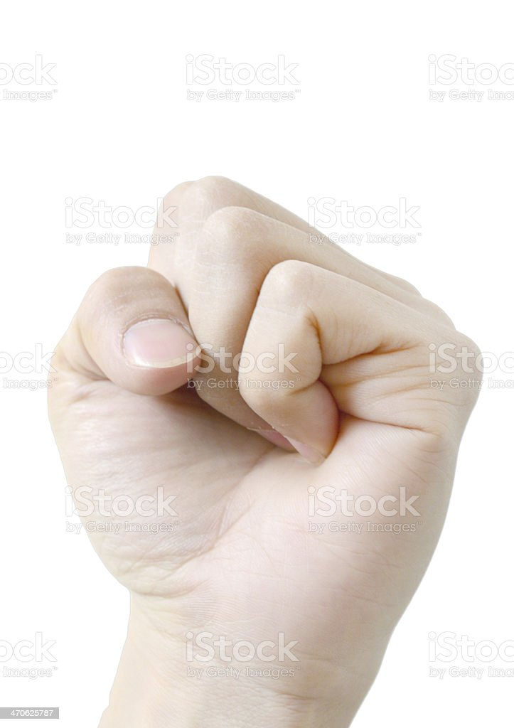 Fist. Gesture of the hand on white background royalty-free stock photo