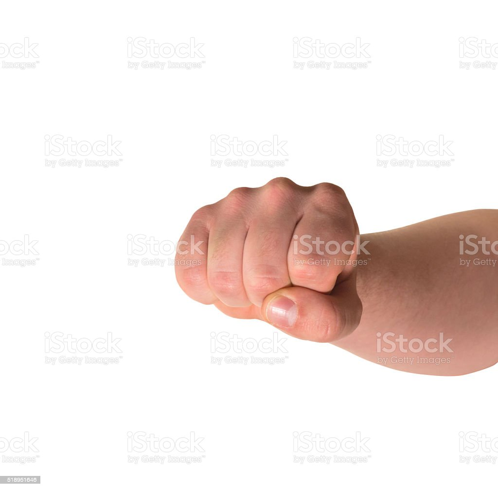 Fist hand gesture isolated stock photo