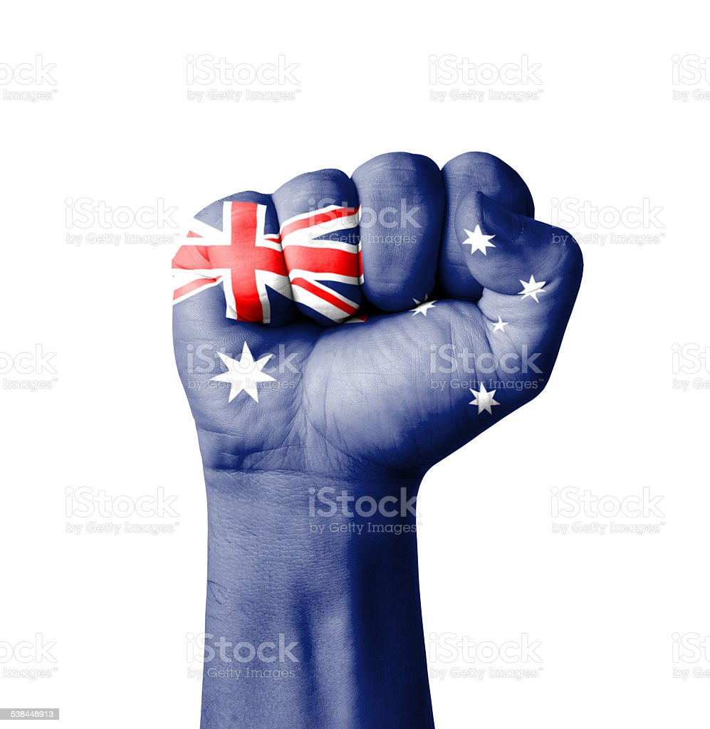 Fist of Australia flag painted stock photo