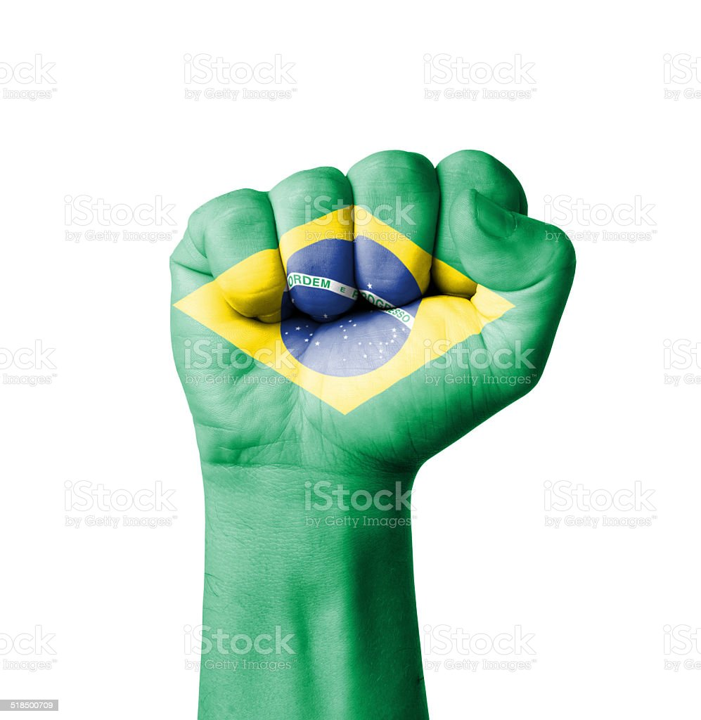 Fist of Brazil flag painted stock photo