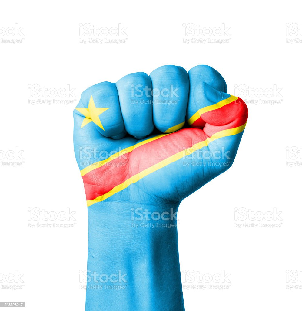 Fist of Congo flag painted stock photo