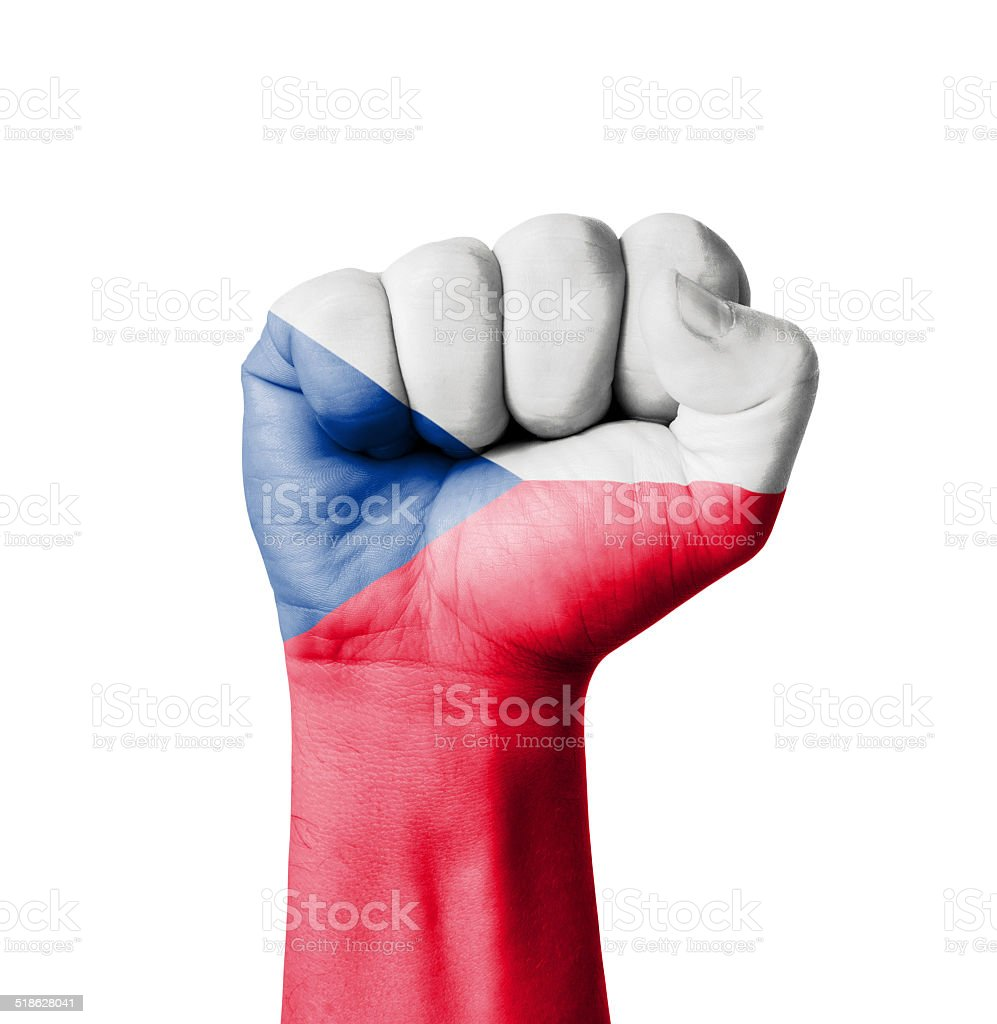 Fist of Czech flag painted stock photo