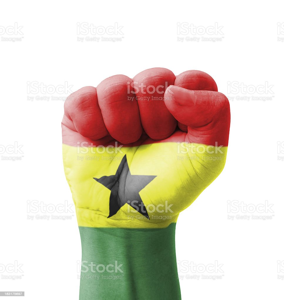 Fist of Ghana flag painted, multi purpose concept royalty-free stock photo