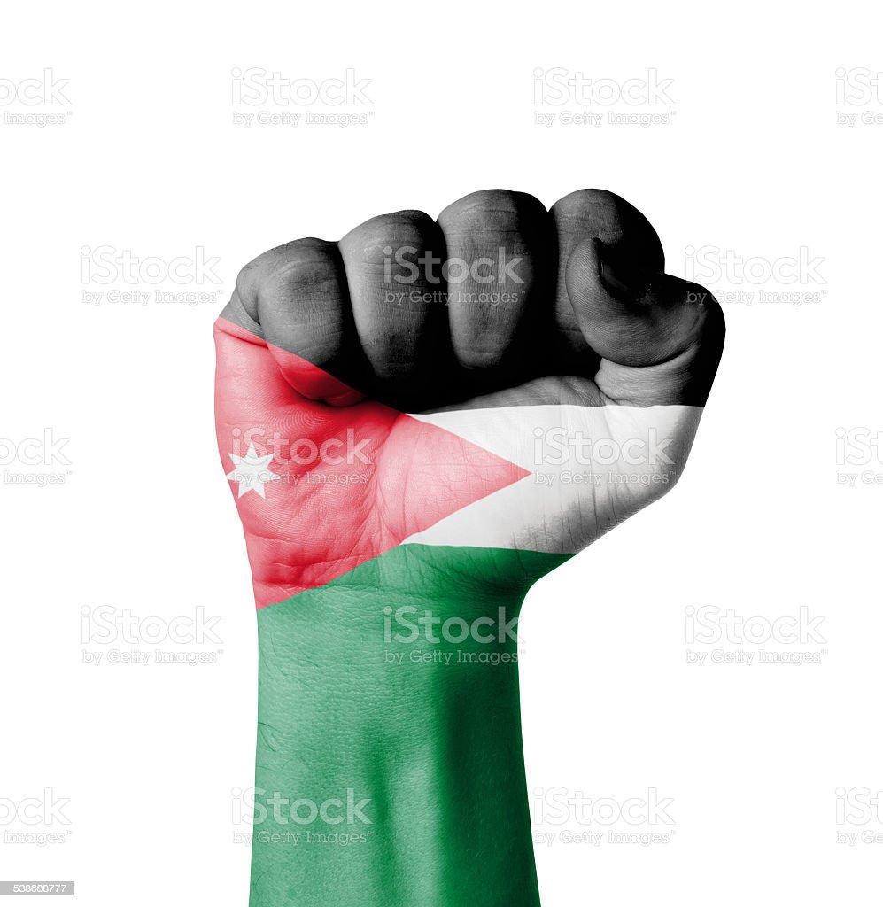 Fist of Jordan flag painted stock photo