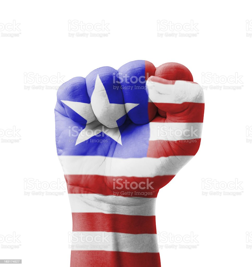 Fist of Liberia flag painted, multi purpose concept royalty-free stock photo