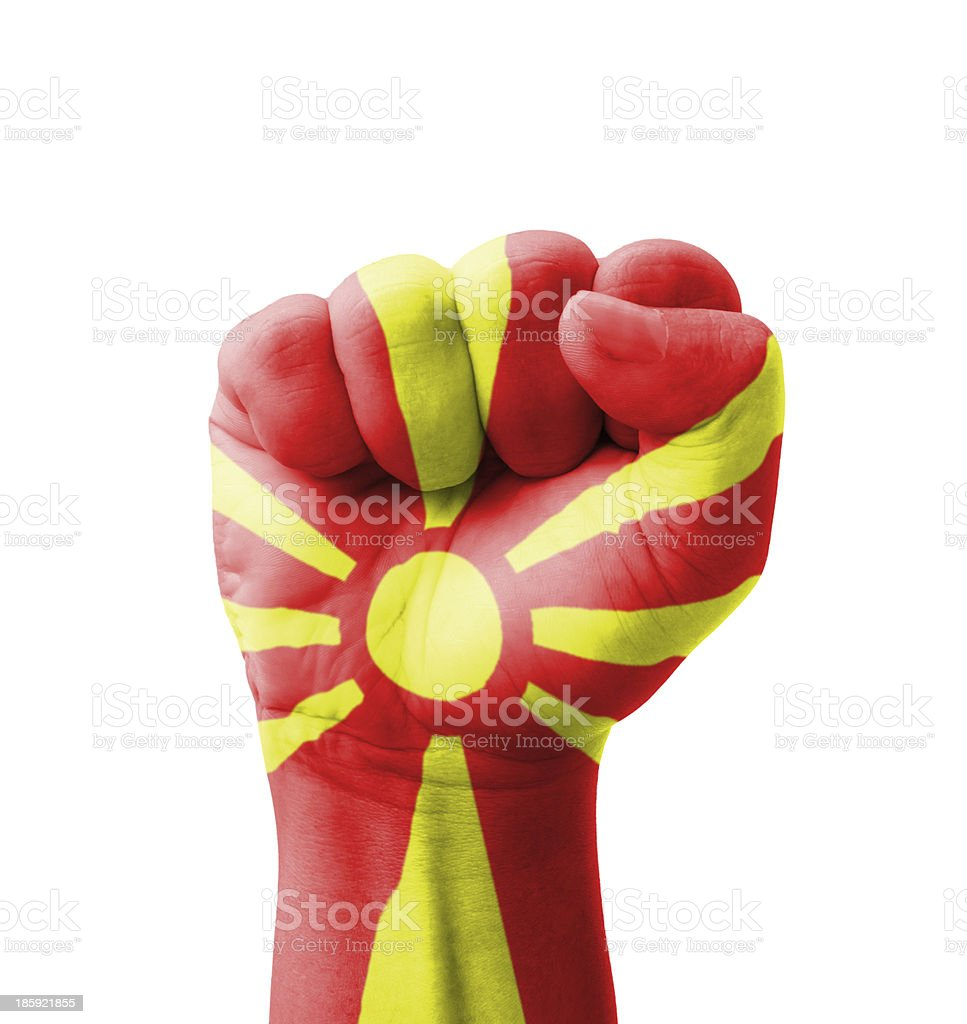 Fist of Macedonia flag painted, multi purpose concept stock photo