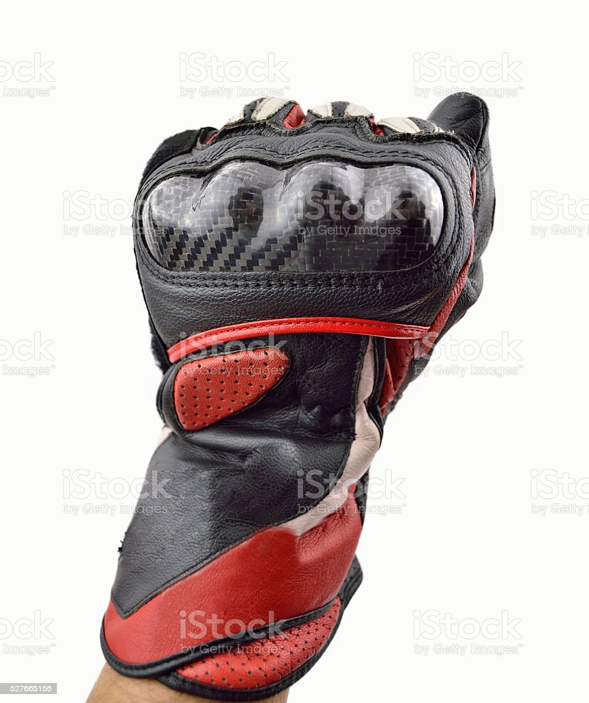 fist of motorbiker stock photo